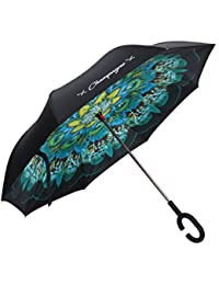 Reverse Umbrella - Inverted Umbrella - Upside Down Umbrella with Stand Alone Feature - Inside Out Umbrella with Aluminum Shaft
