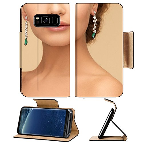 (Liili Premium Samsung Galaxy S8 Plus Flip Pu Leather Wallet Case beauty and jewelry concept beautiful woman in diamond and emerald earrings)
