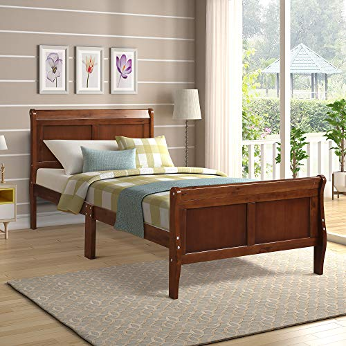 (Wood Platform Bed Twin Bed Frame Mattress Foundation Sleigh Bed with Headboard/Footboard/Wood Slat Support by HARPER & BRIGHT DESIGNS)