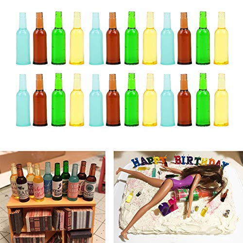 "Luckycivia 24 Pcs 4 Styles Miniature Beer Bottles, Doll Toy Collectible Gift, Beer Cup Toys Model for 1:12 Dollhouse Kitchen Food Accessories (1-3/8""x3/8"")"