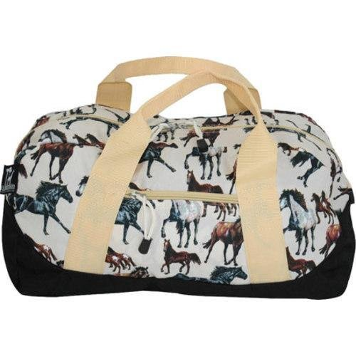 Kids White Multi Horse Themed Carry on Duffle Bag, Beautiful All Over Horses Animal Print Duffel, Shoulder Strap Duffel, Kids Travel Luggage, Handle, Sleepover, Lightweight, (Horse Kids Duffel Bag)