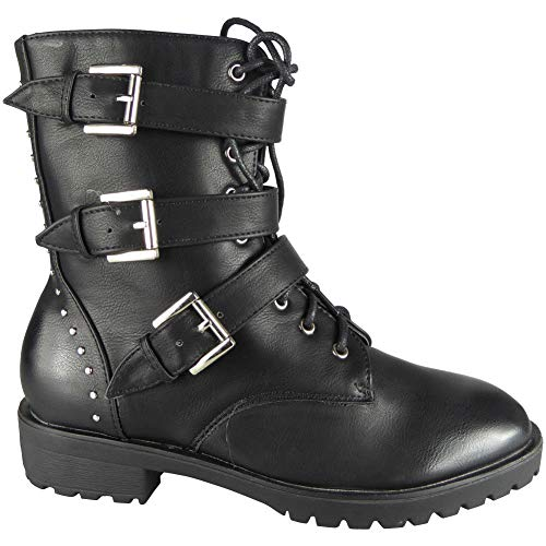 Womens Ankle Combat Goth Punk Boots Zip Creepers Grip Sole Lace Up Shoes Size 3-8 Black