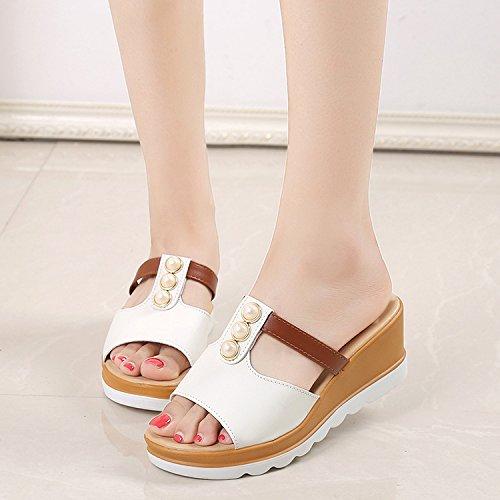 ZPPZZP Mme sandales chaussons Korean Style faites glisser pente 38EU blanc épais