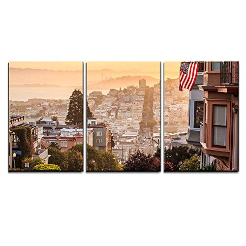 wall26 - 3 Piece Canvas Wall Art - Famous Lombard Street in San Francisco at Sunrise - Modern Home Decor Stretched and Framed Ready to Hang - 16