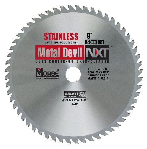 MK Morse CSM956NSSC Metal Devil Circular Saw Blade, 9-Inch Diameter, 1-Inch Arbor, 56 Teeth, Stainless Steel (Metal Devil Saw Blade)