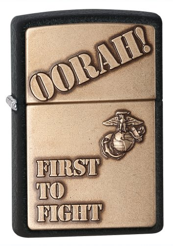 Zippo US Marines First to Fight Emblem Pocket Lighter, Black (Black Crackle Lighter)