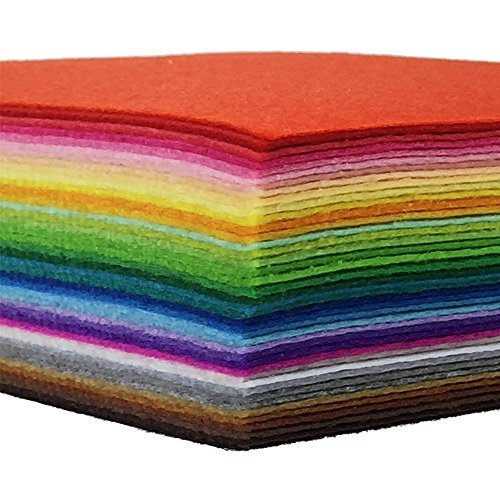 42pcs Felt Fabric Sheet 4x4 Assorted Color DIY Craft Squares Nonwoven 1mm Thick