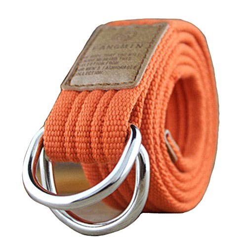 Belttical Web Belt Double D-Ring Buckle Casual Waistband Mens Women Unisex Military Canvas (Orange 110cm.)