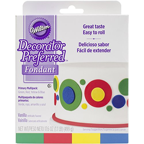 Wilton 710-2311 Primary Decorator Preferred Fondant, Assorted, 4-Pack (Rolled Fondant)