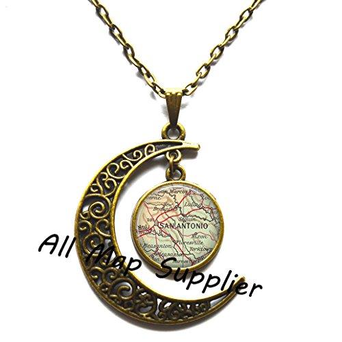 Charming Moon,San Antonio, map necklace, San Antonio map pendant, San Antonio pendant, San Antonio necklace,AO187