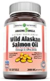 Amazing Omega Wild Alaskan Salmon Oil - 1000mg of Salmon Oil, 180 Softgels - Supports heart, joint & brain health and promotes healthy inflammatory response (180 Softgels)