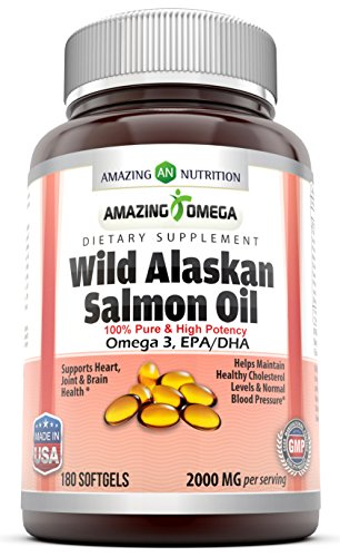 Amazing Omega Wild Alaskan Salmon Oil - 1000mg of Salmon Oil, 180 Softgels - Supports heart, joint & brain health and promotes healthy inflammatory response (180 Softgels) -