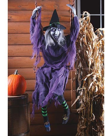 SWINGING EVIL WITCH HALLOWEEN YARD DECOR