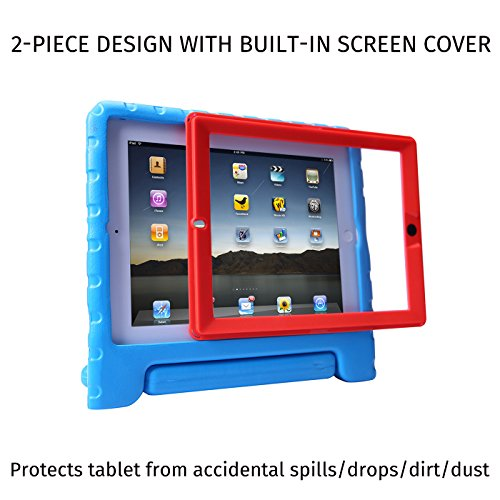 HDE Case for iPad 2 3 4 Kids Shockproof bumper Hard Cover Handle Stand with Built in Screen Protector for Apple iPad 2nd 3rd 4th Generation (Blue Red)