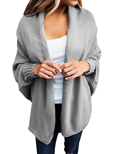 Sleeve Open Front Cardigan - Dearlove Women's Casual Long Dolman Sleeve Draped Open Front Cozy Loose Knit Cardigan Sweaters Oversized Outwear Coat Grey XXL 18 20
