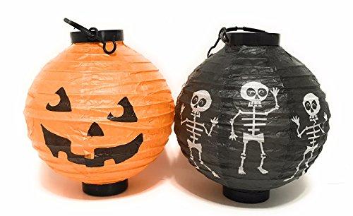 Light Up Halloween Pumpkin and Skeleton LED Hanging Paper Lanterns 8