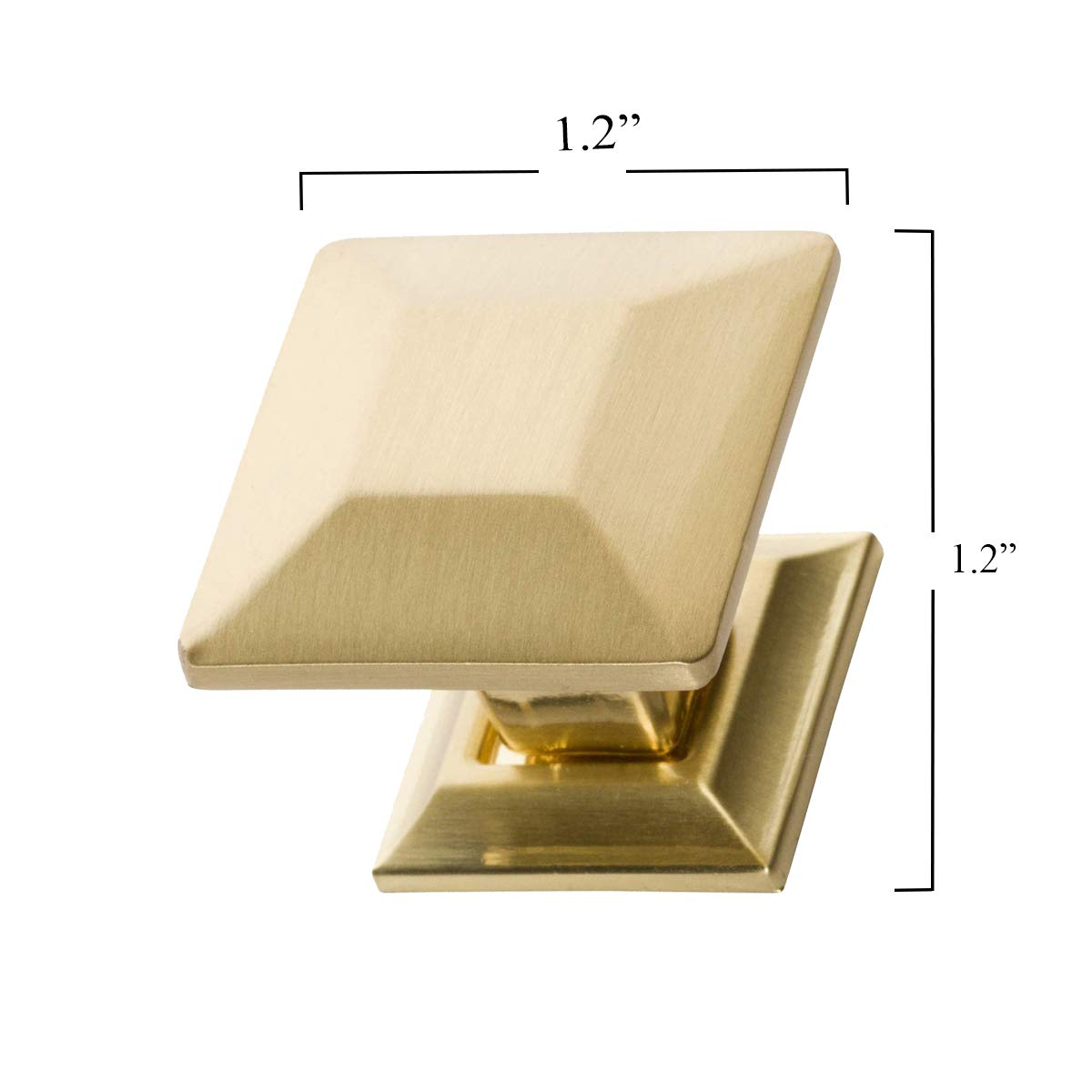 Southern Hills Brushed Brass Cabinet Knobs 1.25 Inch Square Pack of 5 Satin Brass Drawer Pulls SHKM006-BRS-5