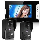 GAMWATER 7 Inch Video Door Phone Doorbell Intercom Kit 2-camera 1-monitor Night Vision with IR-CUT HD 1000TVL Camera Handfree intercom