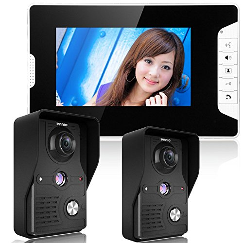 - GAMWATER 7 Inch Video Door Phone Doorbell Intercom Kit 2-Camera 1-Monitor Night Vision with IR-Cut HD 1000TVL Camera Handfree intercom7 Inch Video Door Phone Doorbell Intercom Kit 2-Camera (813MKB21)