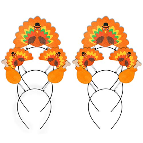 Turkey Headbands - Geefuun 6PCS Thanksgiving Turkey Headband Decorations