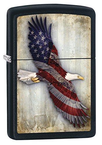 Zippo Lighter: American Flag, Bald Eagle - Black Matte 79110