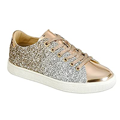 Forever Link Women's Glitter Fashion Sneakers (7.5, Rose Glitter-1)