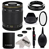 Super 500mm/1000mm f/8 Mirror Telephoto Lens for Canon EOS 80D, 70D, 60D, 60Da, 50D, 40D, 30D, 1Ds, Mark III II, 7D, 6D, 5D, 5DS, Rebel T7i, T7s, T6s, T6i, T6, T5i, T5, T4i, SL1 Digital SLR Cameras