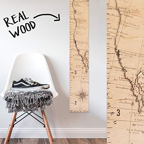 Growth Chart Art | Wooden Map Growth Chart for Kids [Boys & Girls]  Childrens Room Dcor Height Chart | West Coast Map Natural