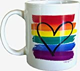 Gay Pride LGBT Rainbow Flag Heart Ceramic 11 Oz Coffee Mug Painting by Mary Ellis and sold by My Bag NY