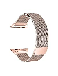 top4cus Milanese Loop Stainless Steel Bracelet Strap Replacement Wrist iWatch Band with Magnet Lock, Compatible for 38mm 42mm Apple Watch Series 4(40mm 44mm) S3 S2 S1 and Sport Edition (Gold(Series 3), 38mm Watch)