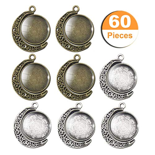 LANBEIDE 20PCS Moon Rotation Double Sided Round Bezel Blank 18mm Pendant Trays, with 40 Pieces Cabochons Settings Trays for Jewelry Making DIY Findings(Silver, Antique Bronze)