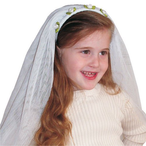 Kids Adorable White Bride Veil By Dress Up America (Kids Bride Costume)