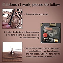 16 Wall Clock - Retro Vintage Handmade 3D Decorative Gear Wooden Kitchen Mechanism Clock With Movements for Housewarming Round Wall Decorative Clocks by HooYL (Copper Color)