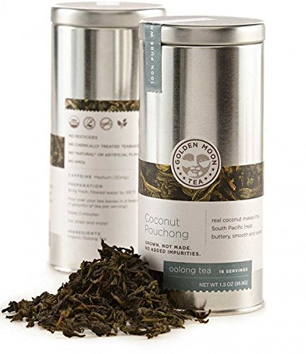 Golden Moon Tea - Coconut Pouchong Tea - Loose Leaf - Non GMO - 1.3oz Tin - 16 Servings