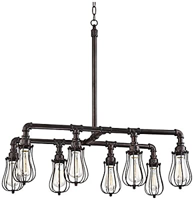 "Galena 33"" Wide 8-Light Bronze LED Pipe Island Pendant"