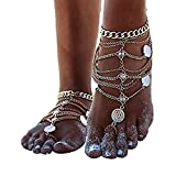 Himerus Multi Chain Tassels Anklet - 1 Pair Boho Vintage Beach Anklet,2 Pcs Coin Blessing Symbol Tassel Indian Anklets Foot Jewelry Silver Tone Gold Tone (Gold)