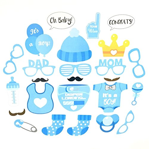 Neo LOONS It's A Boy Baby Shower Decoration Favors Party Photo Booth Props Kits Bottle Masks on Sticks, Blue Set of 25pcs ()