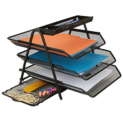 Mind Reader 3 Trays Desktop Document Letter Tray Organizer with Pull Out Drawer Organizer Folders Files Documents Mail Black