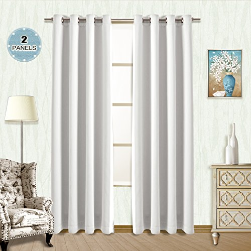 Vangao Greyish White Room Darkening Draperies 2 Panels 52'Wx84'L Thermal Insulated Solid Grommet Top Window Blackout Curtains/Drapes/panels for Bedroom/Living Room