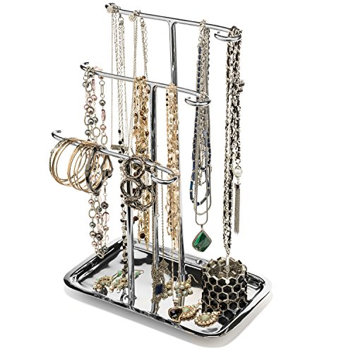 anizer Necklace Holder Tree Tower 3 Tier Display Stand Tabletop Bracelet Ring Tray ()