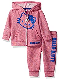 Hello Kitty girls 2 Piece Hooded Active Set With Multi-color Yarn Dye Stripe