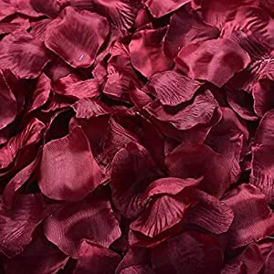 HappyShop Silk Rose Petals 4000pcs Artificial Flower Petals for Wedding Decoration Party Favors Hotel Home Decor Dark-Red 63