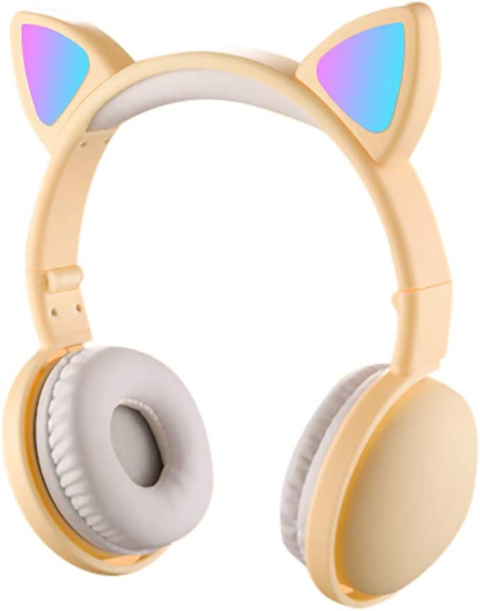 Cat Ear Bluetooth Wireless Headphones On Ear,Kitty Rechargeable Foldable Light Up Earphones,3.5mm Aux Jack, Led Glowing Adjustable Over Ear Headsets Headband for Girlfriend Women Cosplay (Yellow)