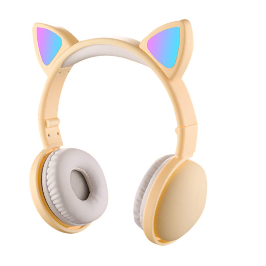 Han Shi Wireless Bluetooth Over Ear Headphones Cat Ear LED Light Up Foldable Headset with Microphone, Adjustable Earphones for Women(Yellow)