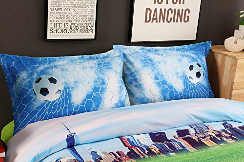Alicemall Kids Football Bedding 3D Soccer Field and City Scenery Duvet Cover Set 4 Pieces Cotton and Tencel Blended Super Soft Cool Sports Bedding Set, King Size Football Sheets Set (King, Light Blue) by Alicemall (Image #3)