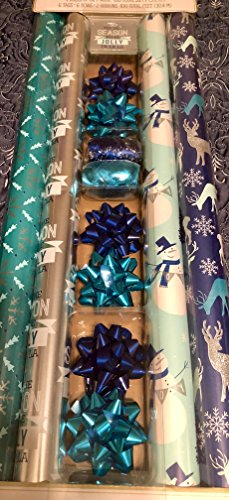 Gift Wrap Ensemble - Christmas Holiday All in One Gift Wrap Wrapping Paper Ensemble - 4 Rolls of Gift Wrap, 6 tags, 6 bows and 2 curling ribbon