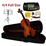 Merano-44-Full-Size-Student-Violin-with-Case-and-BowExtra-Set-of-Strings-Extra-Bridge-Shoulder-Rest-Rosin-Metro-Tuner-Black-Music-Stand-and-Rubber-Mute