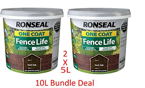 Ronseal 5L One Coat Fence Life Fence Paint Bundle Deal 2 for £22.95-2 x 5L Tubs...