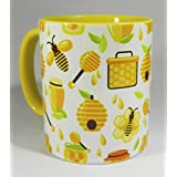 Bees at the Honey Pot Mug with yellow glazed handle and inner from Half a Donkey by Half a Donkey