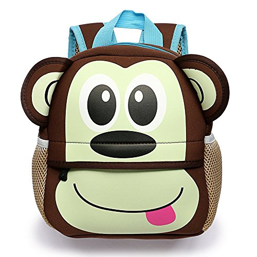 Kid Backpack Monkey Little Kid and Toddler Waterproof Backpack Baby Boys Girls Toddler Pre School Backpack by MS.CLEO
